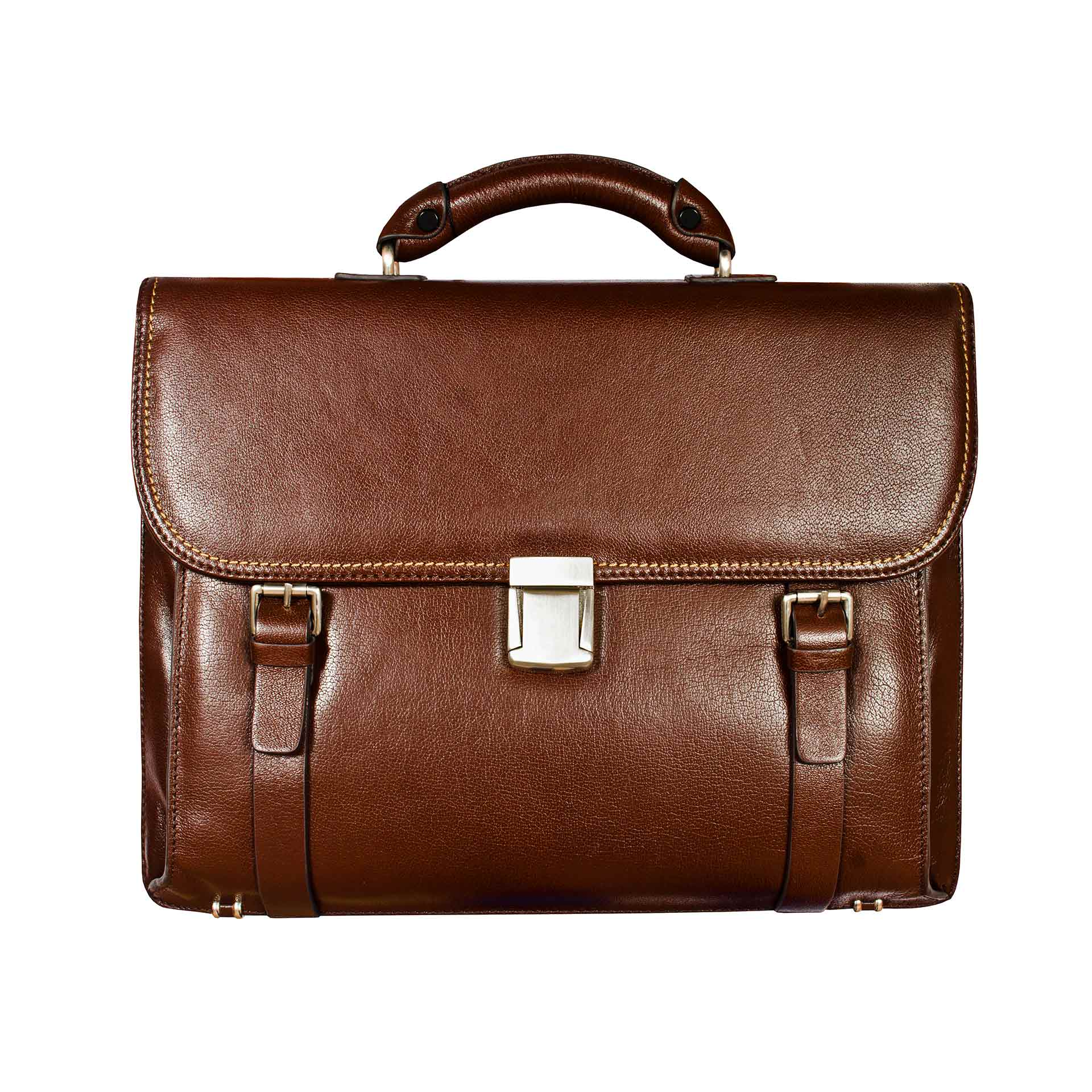 Brown-leather-briefcase-isolated-on-white-background